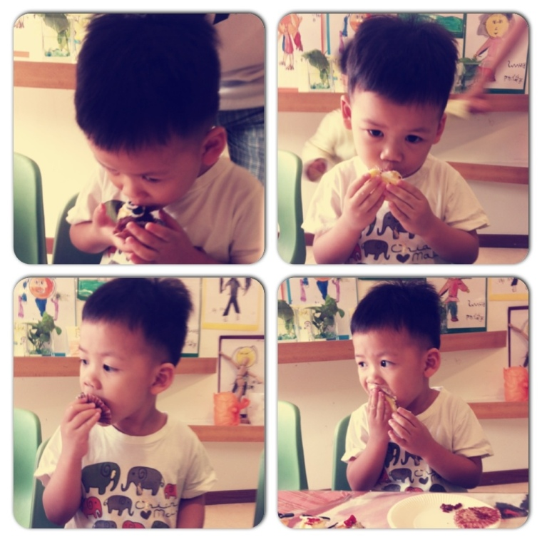 Zai enjoying cakes