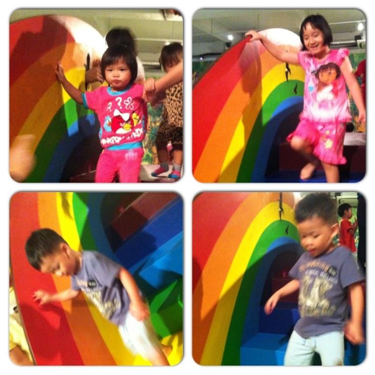 Kids Climbing the Rainbow Bridge