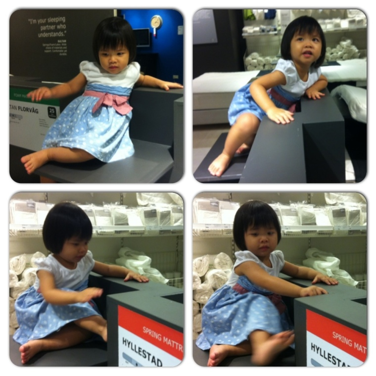 The active girl climbing around in Ikea, and pretend to be demure when she got caught.