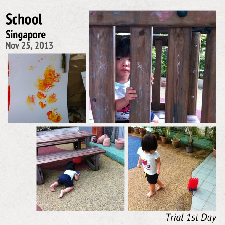 Her first day of trial in school. She did painting and spend most of her time outdoor.