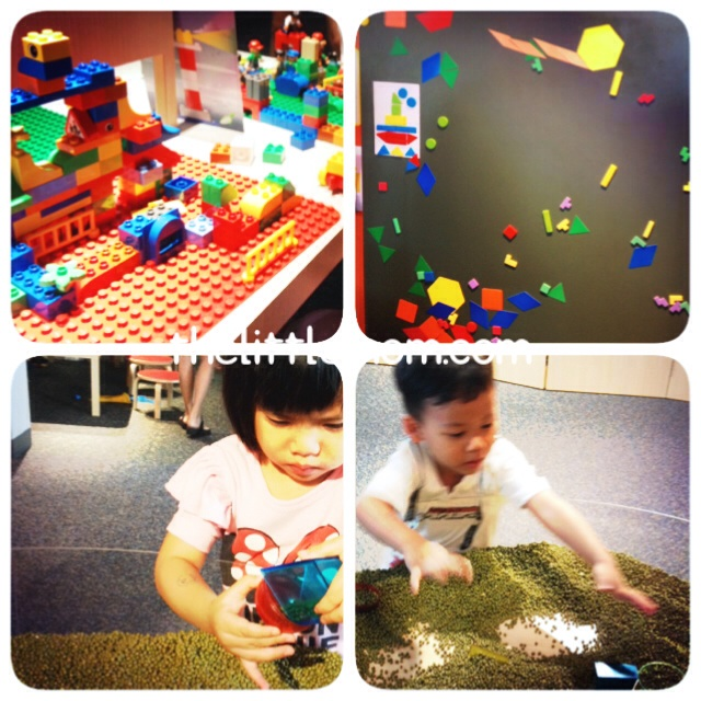 Lego Duplo and Puzzles for the builder. And green bean for sensory play.