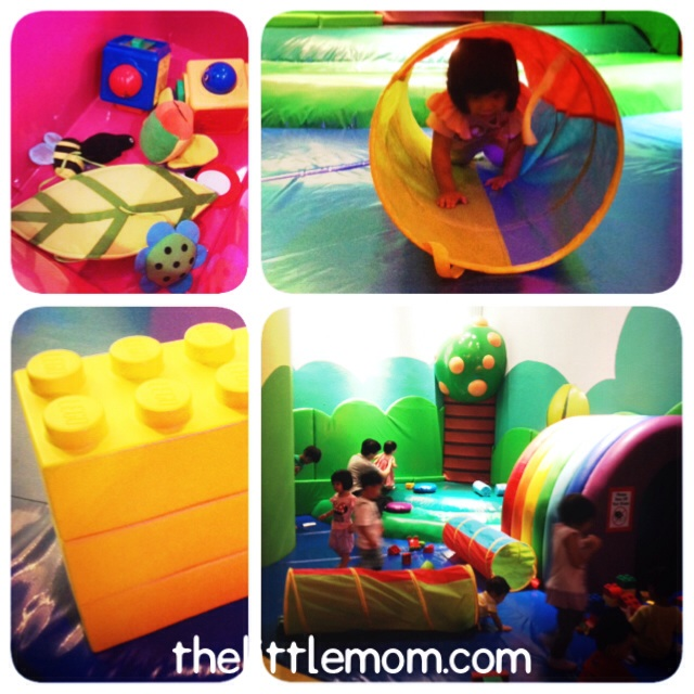 My big toddler still enjoys playing at the toddler area, which looks less 'scary' to her.