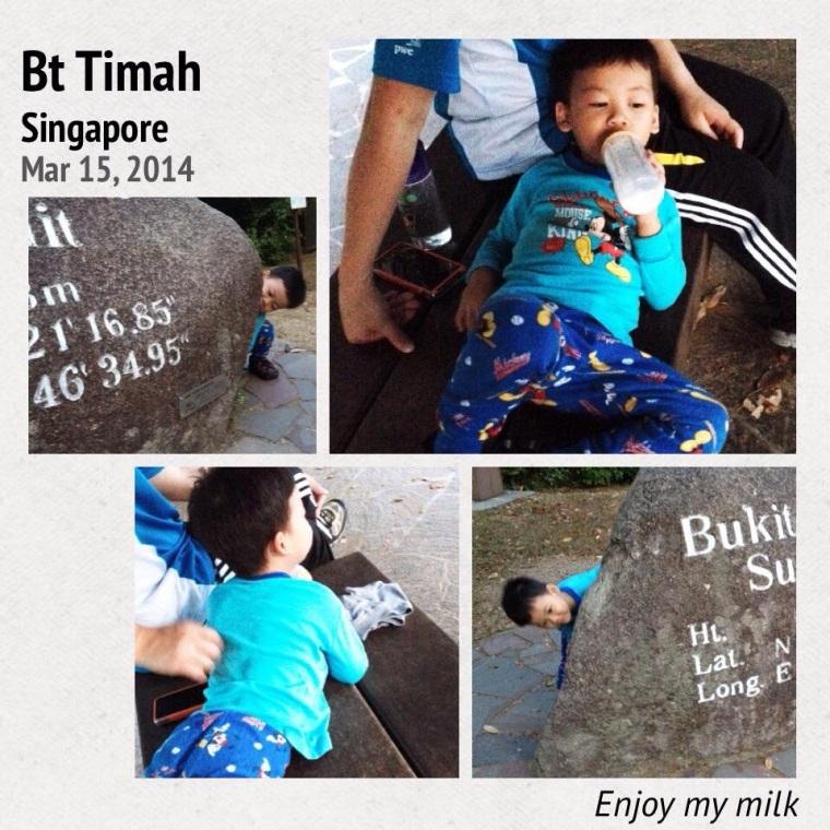 The boy feeling very at ease at Bukit Timah summit
