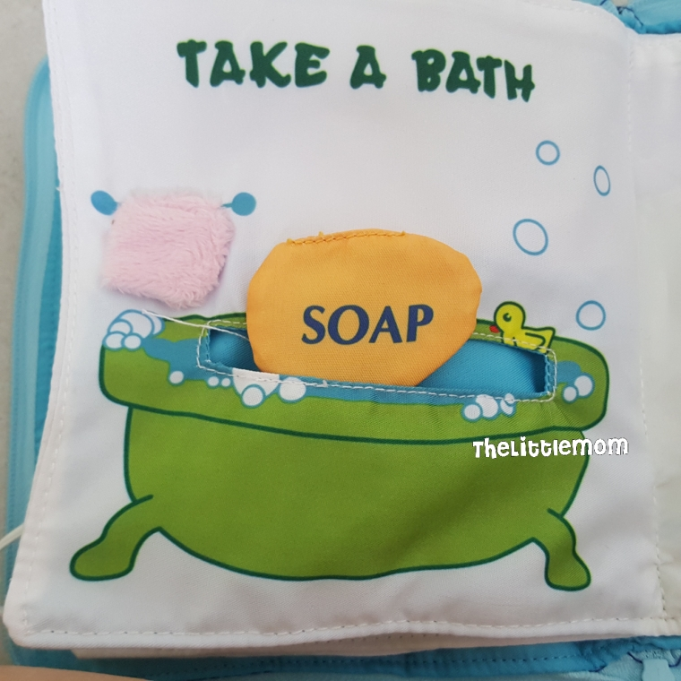 "The ""soap"" can be completely hidden in the bath tub and Baby Bear can ""sit"" in it too. The towel can't be removed though. As you can see, the proportion of items are not correct, which my elder boy noticed too."